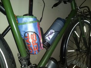Use a spare bottle cage as a bag holder
