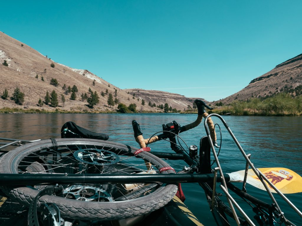 Packraft on the Deschutes River with Bike