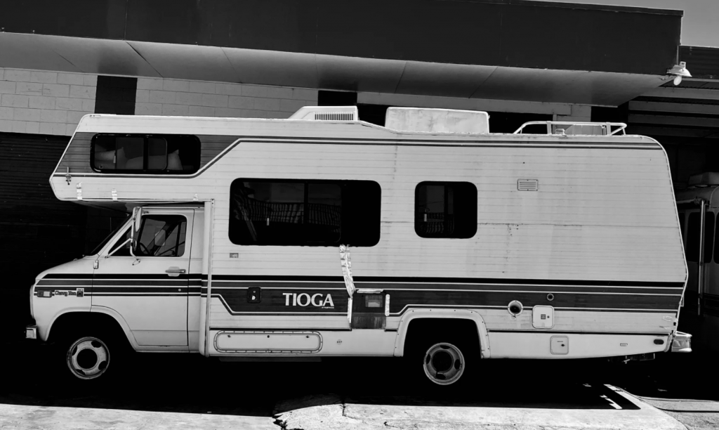 RV Camper in black and white