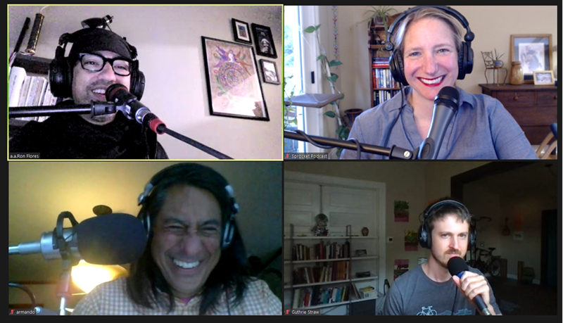 Screen capture of Zoom call with four people shown, including three laughing